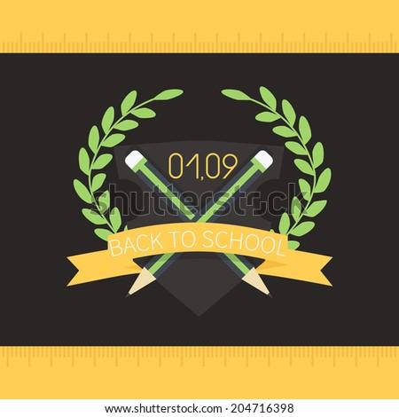Flat vector school badge - stock vector