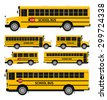 Flat vector school buses in two sides view - stock vector