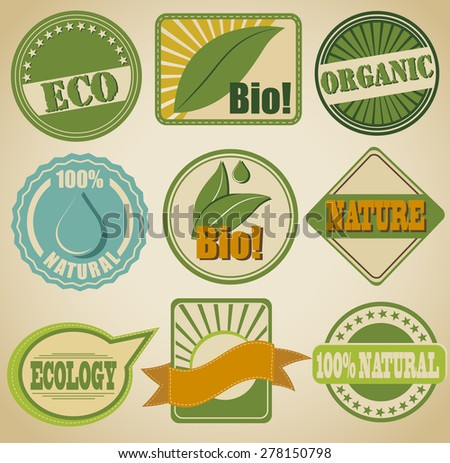 flat vector signs, labels and symbols with the theme of nature - stock vector