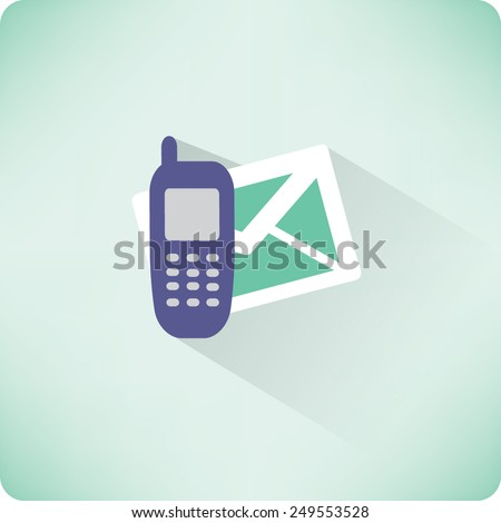 Flat Vector SMS Icon - stock vector