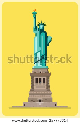 Flat vector Statue of liberty - stock vector