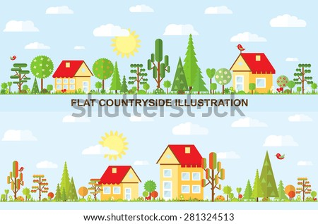 Flat vector tree and house illustration, autumn, spring, summer