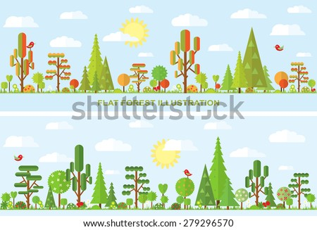 Flat vector tree illustration, autumn landscape with tree, summer sunny day, autumn, spring, summer, flower, spruce, grass, banner with tree - stock vector