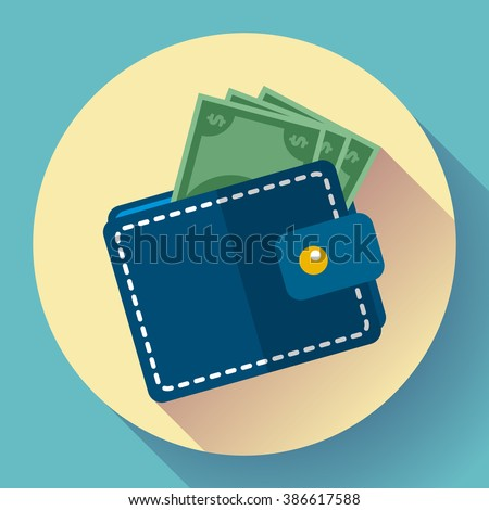 Flat Vector Wallet and Money Icon with long shadow - stock vector
