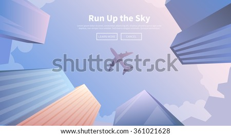 Flat vector web banner on the theme of travel by airplane, vacation, adventure. Airplane flying over business skyscrapers, high-rise buildings. Transport, transportation, travel. Modern flat design. - stock vector