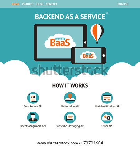Flat vector website template with mobile gadgets displaying backend as a service  - stock vector