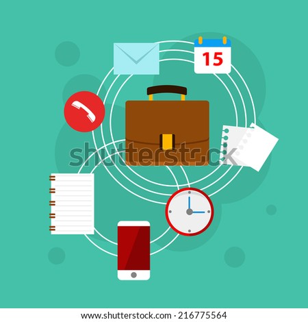 Flat vector workplace illustration with different business icons and elements, bright illustration - stock vector
