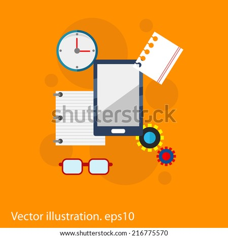 Flat vector workplace illustration with different business icons on orange background - stock vector
