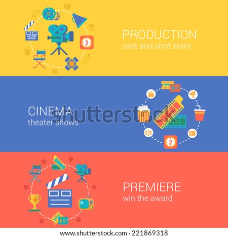 Flat video movie production cinema design icons set casting producing director filming. Modern web click infographics style vector illustration concept collection.  - stock vector