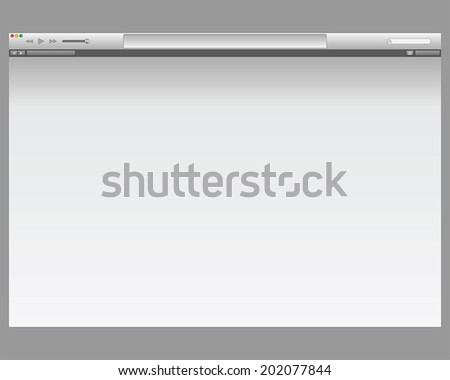 Flat video or audio player skin for web browser or website and mobile apps with blank screen. Isolated on background. Vector illustration with media interface bar panel
