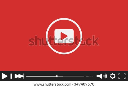 Flat video player. Eps 10. Vector illustration - stock vector