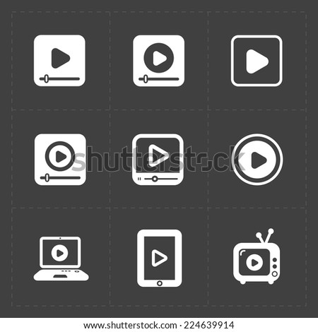Flat video player icons on dark background. - stock vector