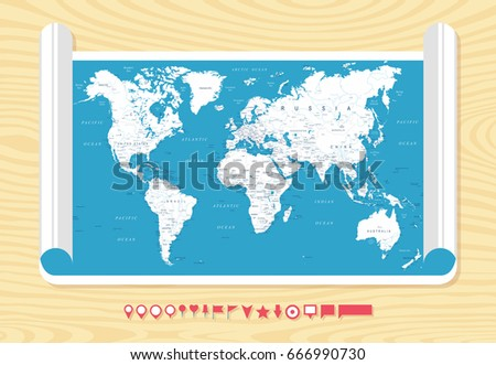 Flat Vintage World Map On Wood Stock Vector HD Royalty Free - Vintage world map on wood
