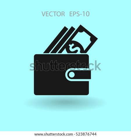 Flat Wallet icon, vector illustration
