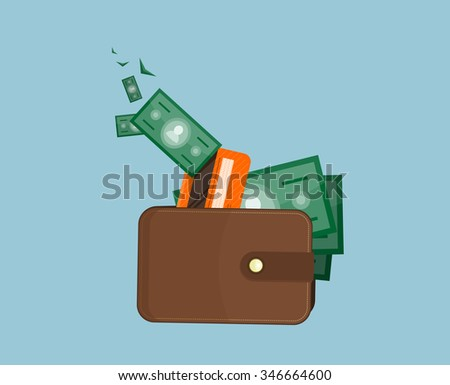 Flat wallet with card and cash. Leather wallet with dollars, credit cards. Leather purse with banknotes. Brown wallet. Full wallet. Purse with money. Wallet filled up with money and plastic cards - stock vector