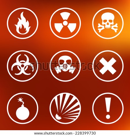 Flat warning signs labels - stock vector
