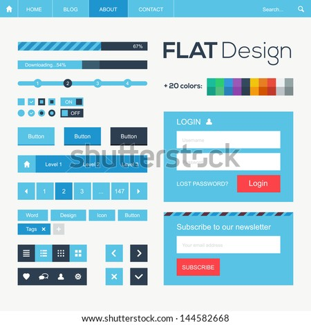 Flat web and mobile design elements, buttons, icons. Website template. - stock vector