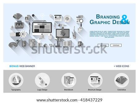 Flat Web Banner Template Design Outline Stock Vector 418437229 ...