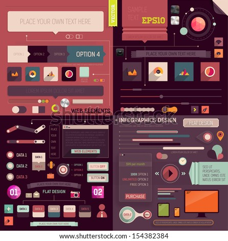 Flat Web Design and Infographics Elements set. Buttons, icons, frames, speech bubbles, diagrams, charts and business infographics vector elements. Modern design collection. - stock vector
