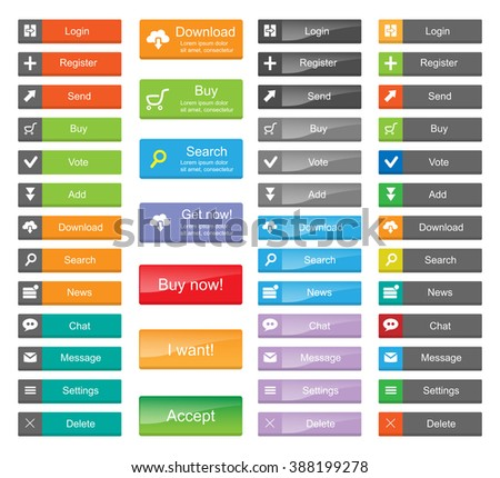 Flat Web Design elements - set of color buttons with icons.  - stock vector
