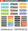 Flat Web Design elements - set of 36 color buttons with icons for website or app. - stock vector