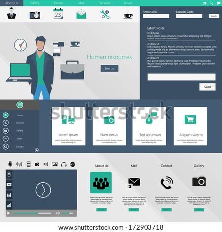 Flat Web Design elements. Templates for website.  - stock vector