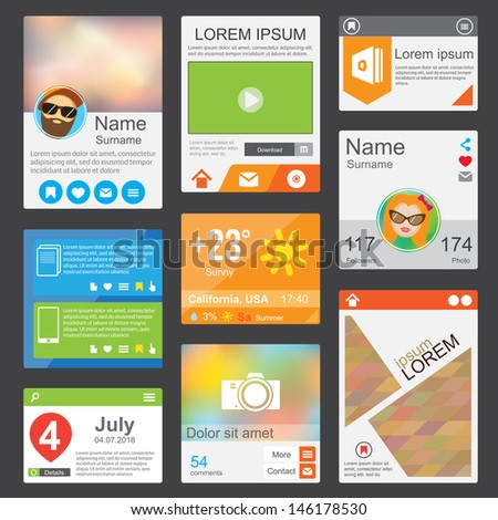 Flat Web Design elements. Templates for website or phone application - stock vector