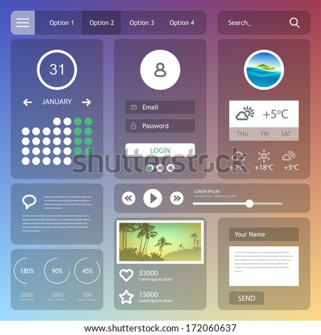 Flat web design elements. Vector set of various elements used for user interface projects. Eps 10