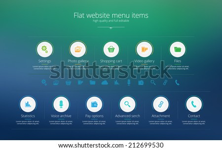 Flat web design menu template - stock vector