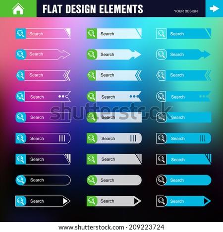 Flat Web Design set elements  buttons  icons gui concept template - stock vector