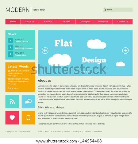 Flat Web Design Template. - stock vector