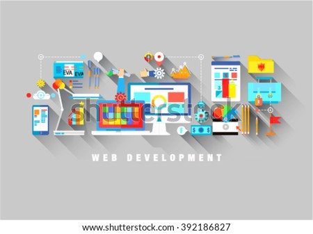 Flat web design template of one page with bright flat icons of web studio services. SEO analysis, website optimization, bug testing and fixing. Flat graphic image concept, website elements layout
