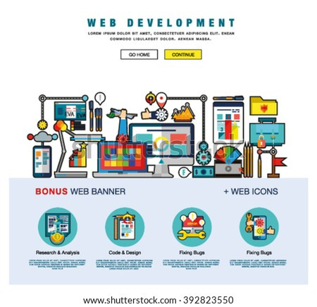Flat web design template of one page with bright flat icons of web studio services. SEO analysis, website optimization, bug testing and fixing. Flat graphic image concept, website elements layout - stock vector