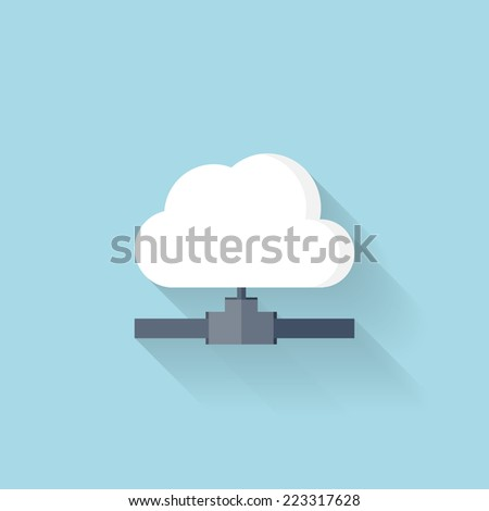 Flat web icon. Cloud computing net. - stock vector