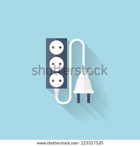 Flat web icon. Energy power plug. - stock vector