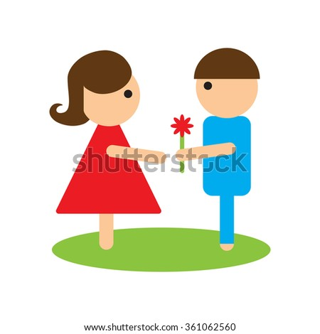 Flat web icon on white background man woman flowers - stock vector
