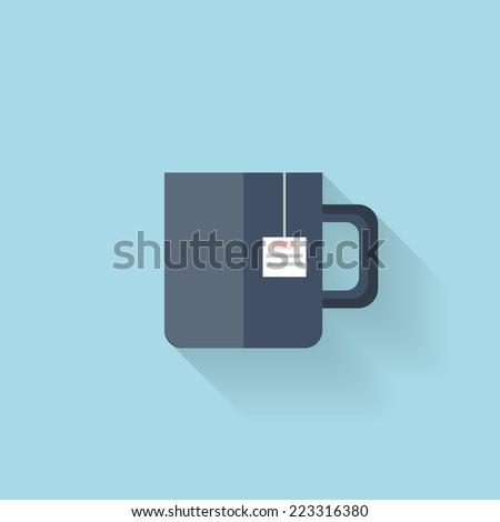 Flat web icon. Tea cup - stock vector