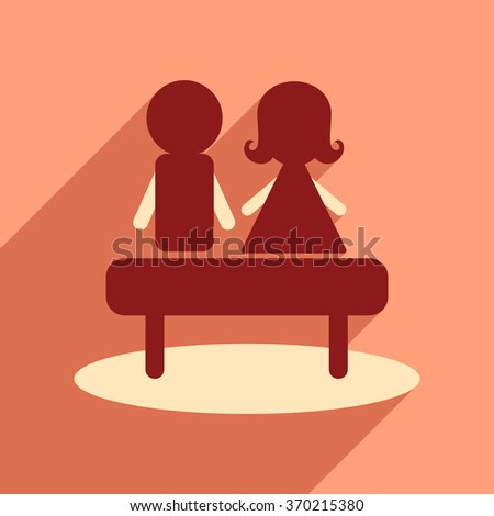 Flat web icon with long shadow man woman bench - stock vector