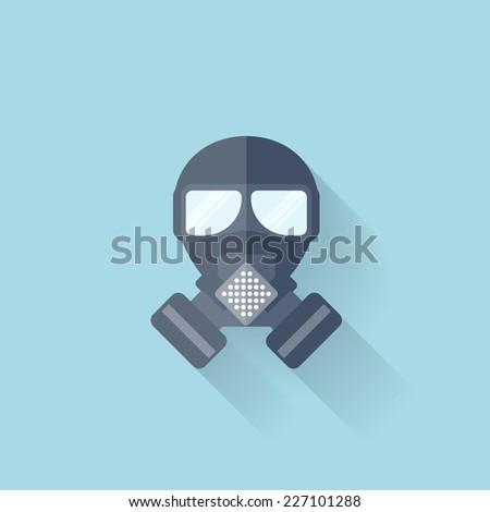 Flat web internet icon. Gas mask. - stock vector
