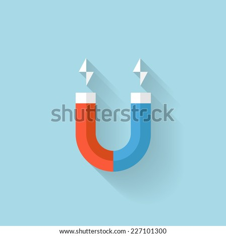 Flat web internet icon. Magnet. - stock vector