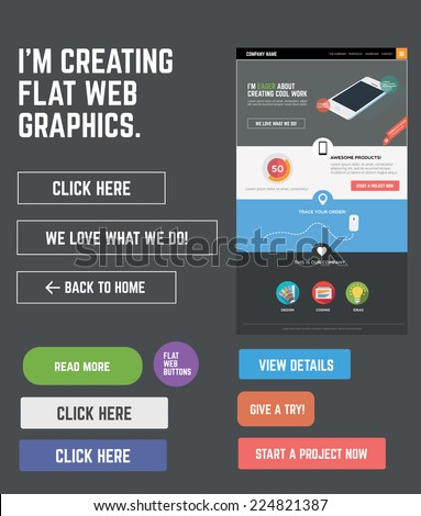 Flat web kit for designing web pages