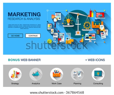 Flat web page design concept of search engine optimization service, SEO data analytics and keyword process. Vector concept for website or infographics with icons of technic and graphics and buttons