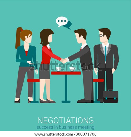 Flat web partnership success business deal handshake to succeed infographic concept vector. Two businessmen shaking hands. Creative people collection. - stock vector