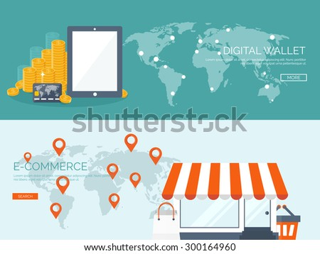 Flat web store, internet shopping. Digital wallet. Coins,tablet,plastic card. - stock vector
