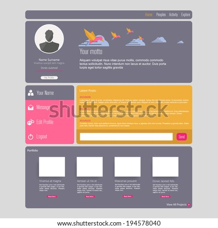 Flat Web UI Concept / EPS10 Vector Illustration /  - stock vector