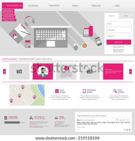 Flat Website Template (Homepage, Portfolio, About, Contact) - stock vector