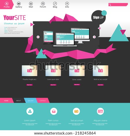Flat Website template with abstract elements - stock vector