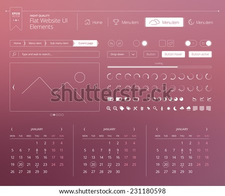 Flat website UI elements - stock vector