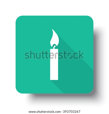 Flat white Candle Light web icon on green button with drop shadow