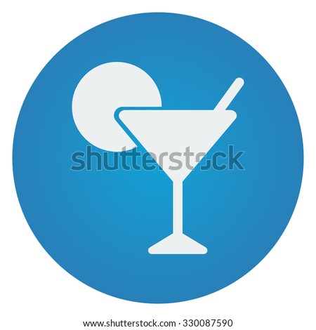 Flat white Cocktail icon on blue circle